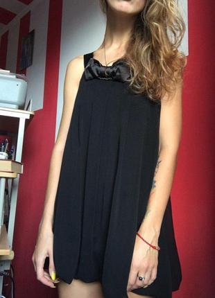 Вечернее мини платье. бант - тренд сезона  летящее, не светится. черное летнее шифон шелк