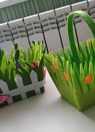 Фетровые корзины для декора