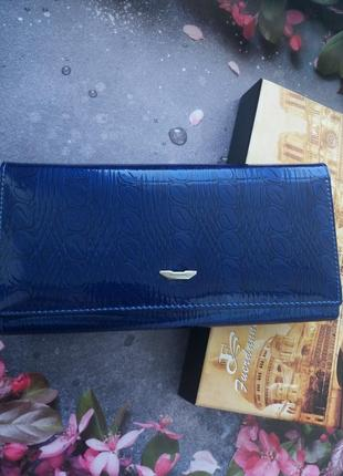 Кошелек из натуральной кожи кожаный лаковый лакированый синий гаманець шкірянтй кожа лак