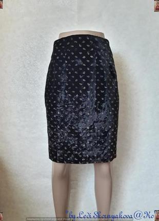 Новая бархатная юбка-миди с золотистыми рисунками на ткани, размер хс-с