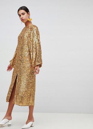 Asos ексклюзивна золота вся в паєтках сукня оверсайз