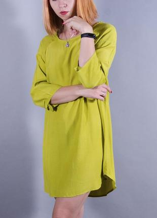 Свободное платье, горчичное платье, лимонная туника, платье с длинным рукавом