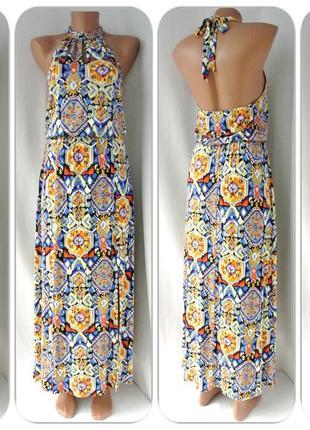 Стильное длинное платье tu с открытой спиной и разрезами. размер uk10/eur38.