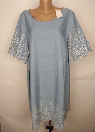 Платье натуральное новое голубой с вышивкой большой размер evans uk 24/52/4xl