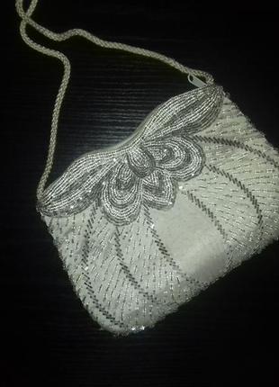 Винтажная вечерняя сумочка вышитая бисером