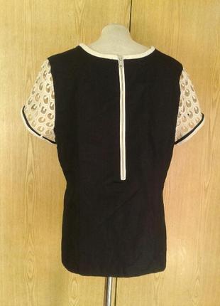 Синяя льняная блузка с белыми ажюрными рукавами ,4xl