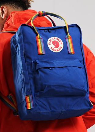 Рюкзак канкен fjallraven kanken art rainbow blue сумка портфель classic  синий радуга