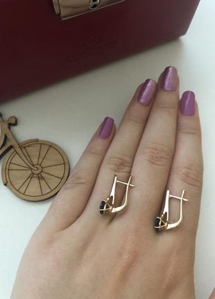 Новые золотые сережки с топазом и цирконием ❤️2 фото