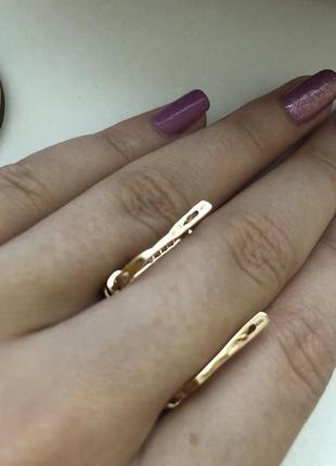 Новые золотые сережки с топазом и цирконием ❤️3 фото
