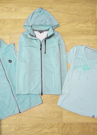 Новый спортивный комплект cutting edge р. s. сток, флиска, футболка, худи, жилетка