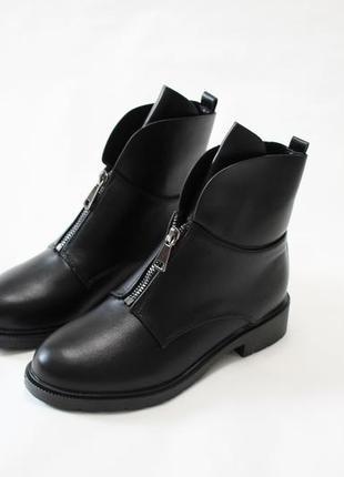 Женские черные демисезонные ботинки (полусапоги) из эко-кожи
