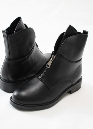 Женские черные демисезонные ботинки (полусапоги) из эко-кожи5 фото