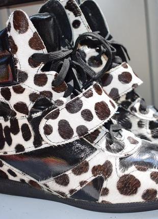 Сникерсы ботинки италия мех пони +кожа внутри р.40 26,2 см кеды