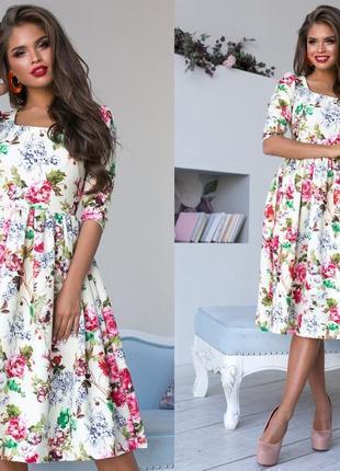 Шикарное платье миди с цветочным принтом (все расцветки)