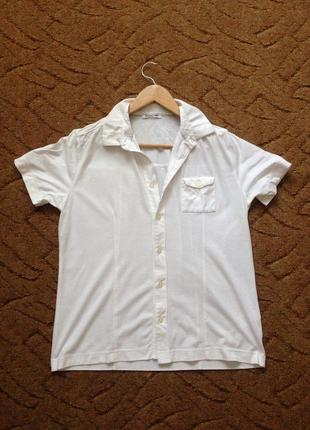 Белая мужская рубашка с короткими рукавами