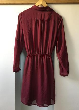 Бордовое шифоновое платье-рубашка old navy со слипом {размер м}2 фото