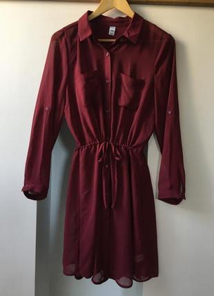 Бордовое шифоновое платье-рубашка old navy со слипом (размер м)