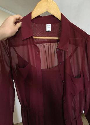 Бордовое шифоновое платье-рубашка old navy со слипом {размер м}4 фото