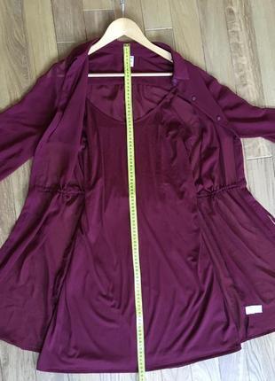 Бордовое шифоновое платье-рубашка old navy со слипом {размер м}5 фото