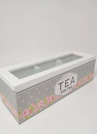 Дерев'яна коробка для зберігання чаю шкатулка