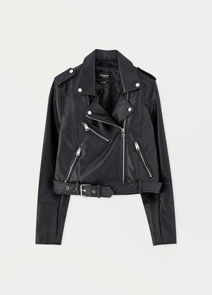 Biker style курткa pull& bear из искусственной кожи