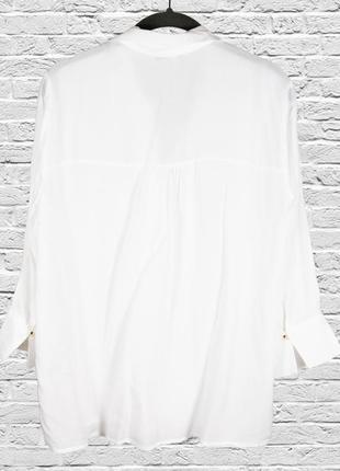 Белая рубашка свободная, женская классическая рубашка с длинным рукавом2 фото