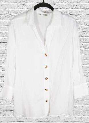 Белая рубашка свободная, женская классическая рубашка с длинным рукавом