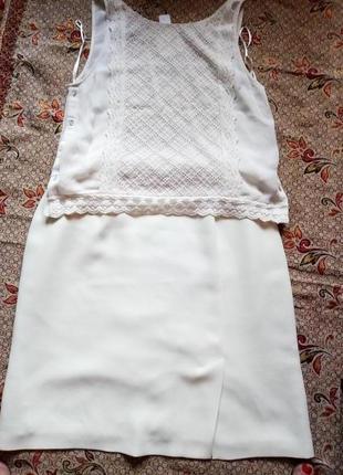 Комплект юбка и шифоновая маечка с прошвой и кружевом молочного цвета