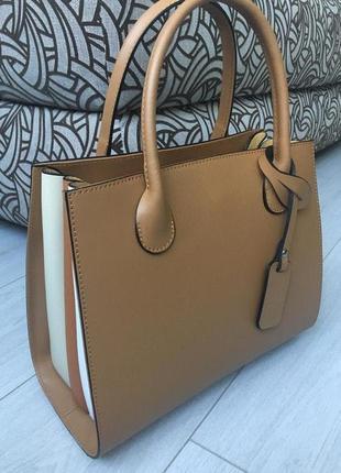 Базовая деловая сумка в осенних красках из натуральной кожи италия