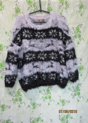 Стильный пушистый свитер травка с новогодним/зимним принтом/олени/оверсайз