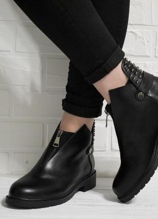Стильные женские черные демисезонные ботинки (полуботинки) из эко-кожи