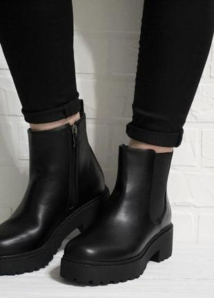 Модные женские черные демисезонный ботинки челси на толстой подошве
