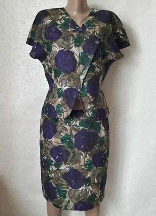 Новый красивый костюм в яркий цветочный принт со 100 % хлопка, размер м-л