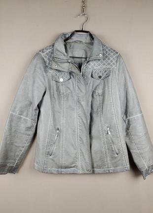 Эко кожа классная куртка ,бомбер,косуха серого цвета без желтизны