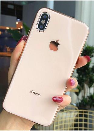 Скляний чохол glass case logo rose gold для iphone