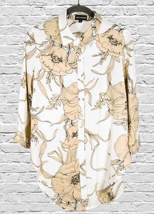 Длинная рубашка шифоновая, белая рубашка с цветочным принтом