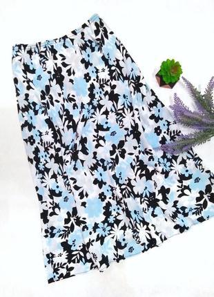 Летняя юбка миди на талию,в цветочек