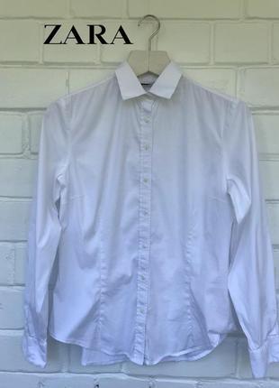 Базовая белая приталенная хлопковая рубашка с длинным рукавом zara размер m-l.