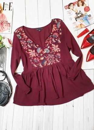 Блуза кофта с вышивкой кантри бохо стиль вышиванка