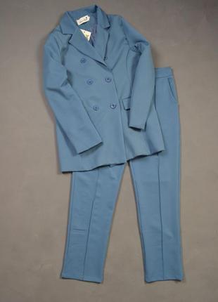 Костюм брючный удлиненный пиджак  брюки классика3 фото