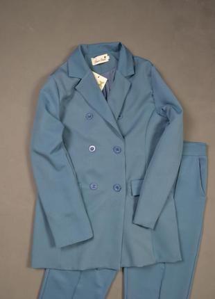 Костюм брючный удлиненный пиджак  брюки классика4 фото