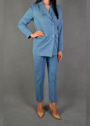 Костюм брючный удлиненный пиджак  брюки классика5 фото