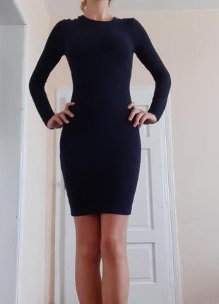 Темно-синее натуральное платье футляр kikiriki s