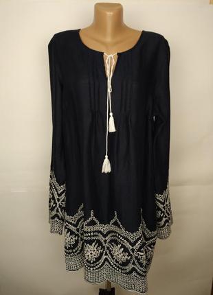 Платье туника стильное натуральное вышивка батистовка  uk 18-20/46-48/xxl-xxxl