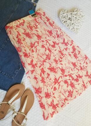 🌾красивая юбка плиссе  в цветы_ плиссированная юбка миди m&s