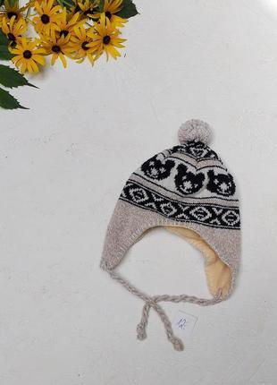 Красивая вязаная ушанка шапка с бумбоном медвежонки