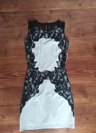 Бежеве плаття з кружевом