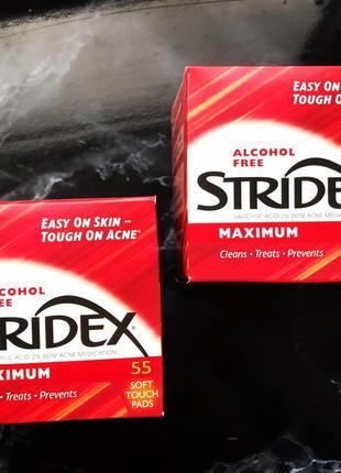 Stridex, одношаговое средство от угрей,максимальная сила без спирта, 55 мягких салфеток