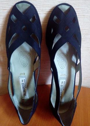 Кожаные летние открытые туфли на танкетке2 фото
