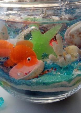 Свеча гелевая аквагриум ручная работа, чудесный подарок!